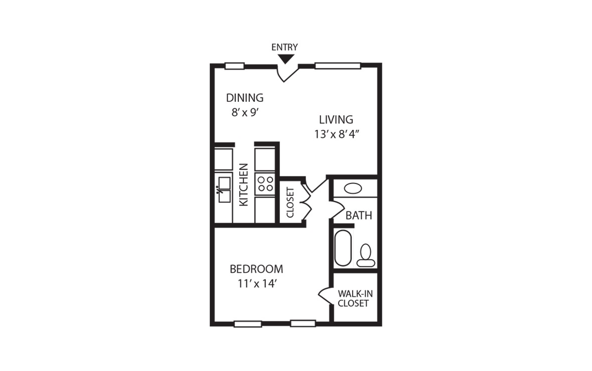 A - 1 bedroom floorplan layout with 1 bath and 600 square feet (1st floor 2D)
