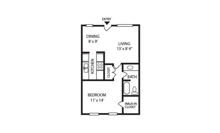 A - 1 bedroom floorplan layout with 1 bath and 600 square feet
