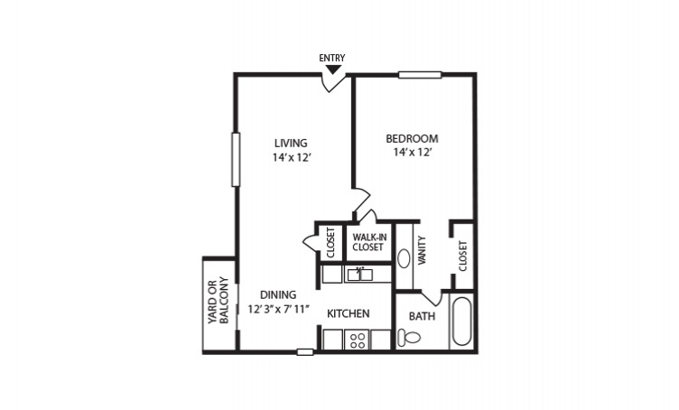 B - 1 bedroom floorplan layout with 1 bath and 720 square feet