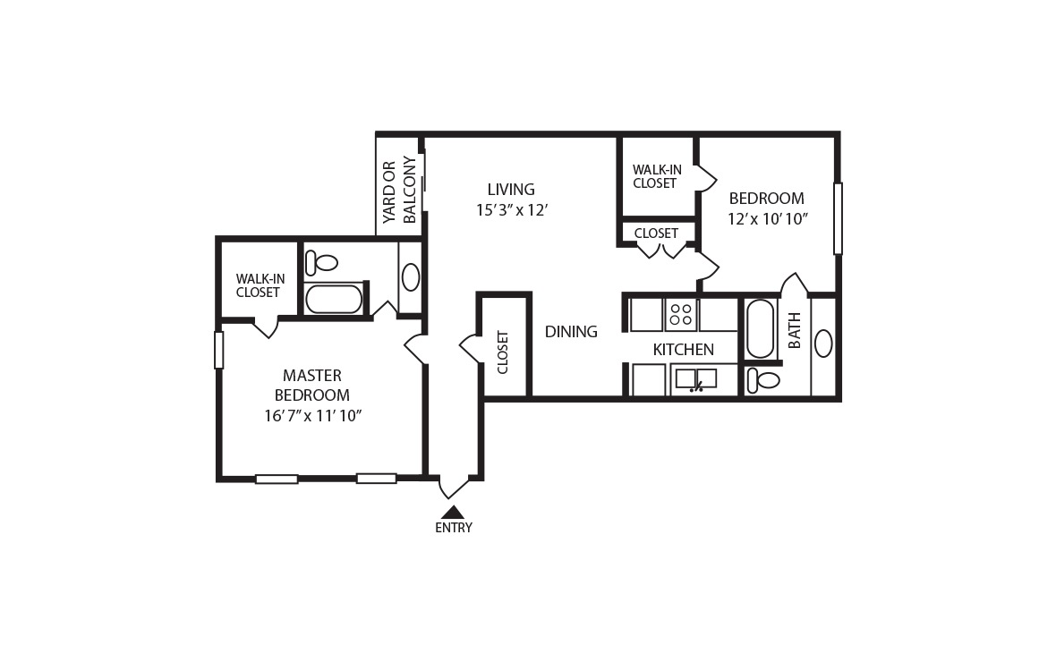 C - 2 bedroom floorplan layout with 2 bath and 1035 square feet (1st floor 2D)