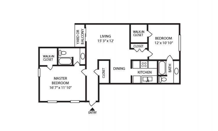 C - 2 bedroom floorplan layout with 2 bath and 1035 square feet