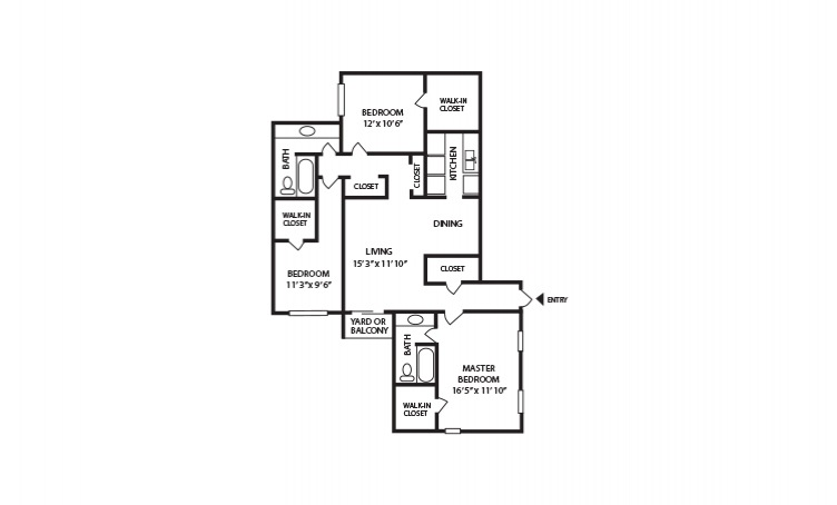 D - 3 bedroom floorplan layout with 2 bath and 1330 square feet